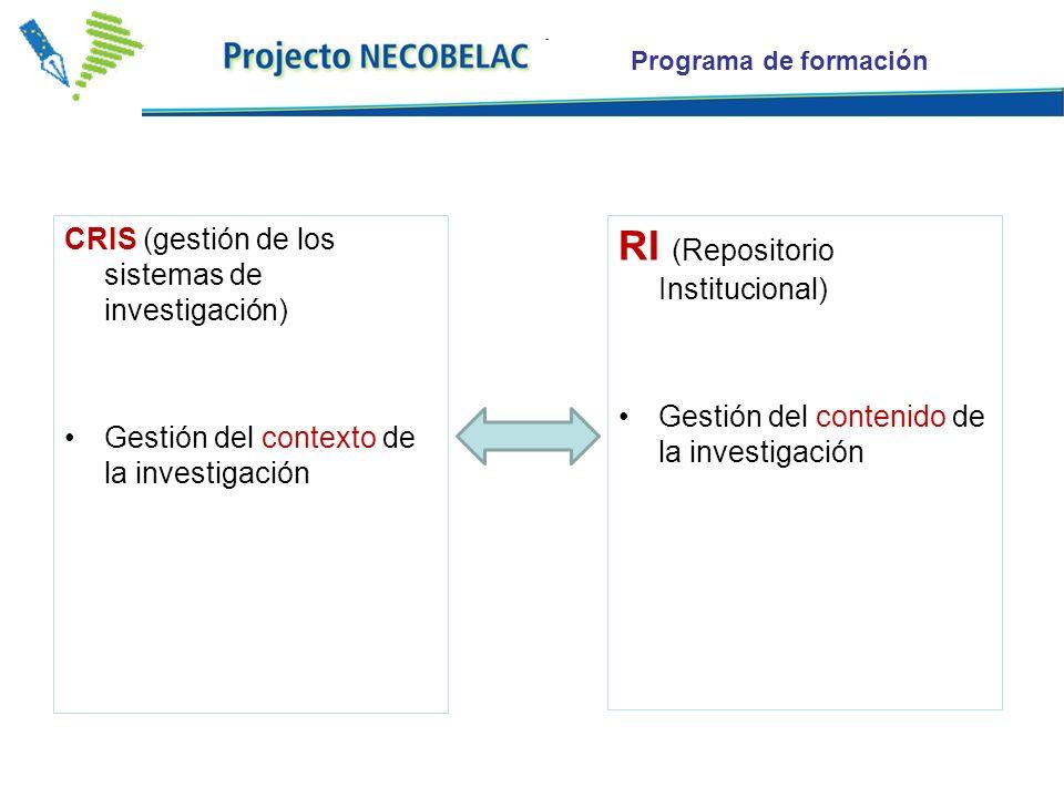 Programa de formación CRIS (gestión de los sistemas de investigación) Gestión del contexto de la investigación RI (Repositorio Institucional) Gestión del contenido de la investigación