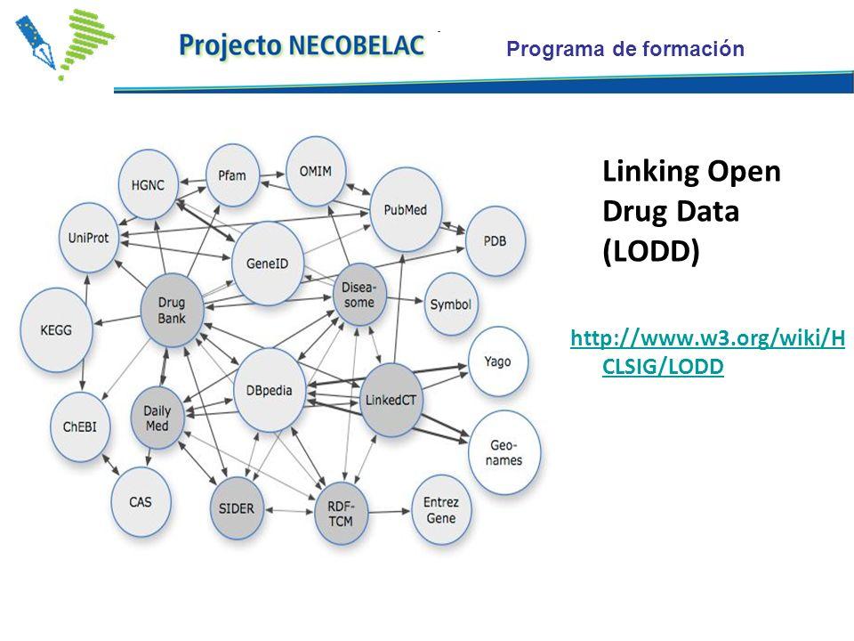 Programa de formación Linking Open Drug Data (LODD) http://www.w3.org/wiki/H CLSIG/LODD