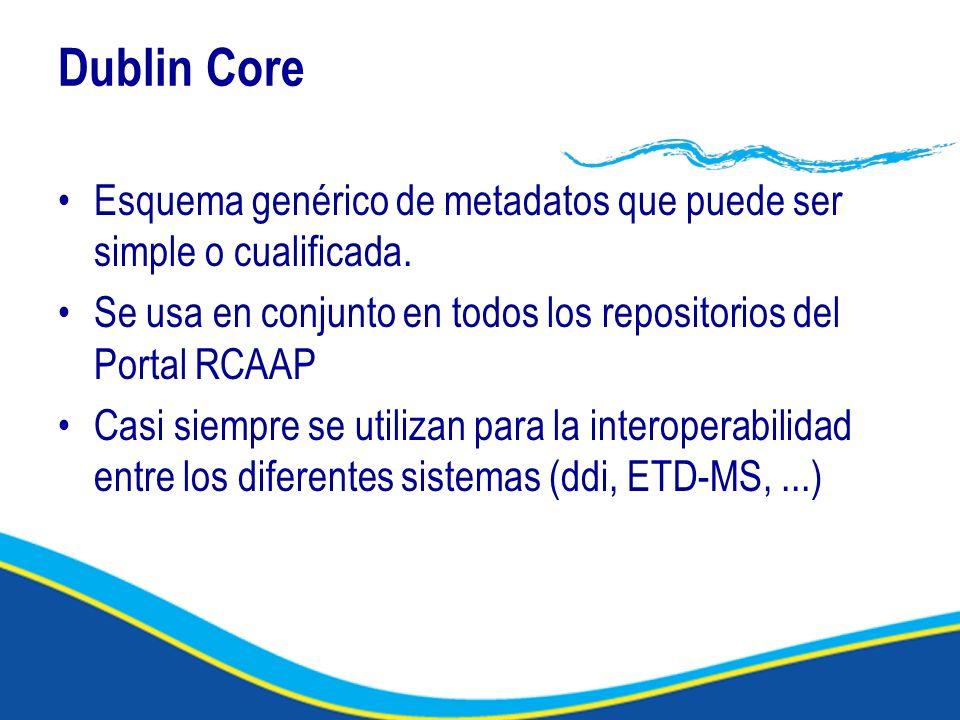 Dublin Core Esquema genérico de metadatos que puede ser simple o cualificada.