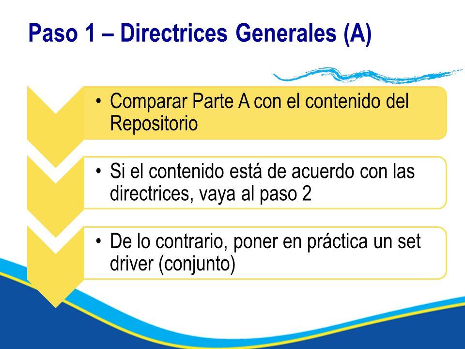 Paso 1 – Directrices Generales (A) Comparar Parte A con el contenido del Repositorio Si el contenido está de acuerdo con las directrices, vaya al paso 2 De lo contrario, poner en práctica un set driver (conjunto)