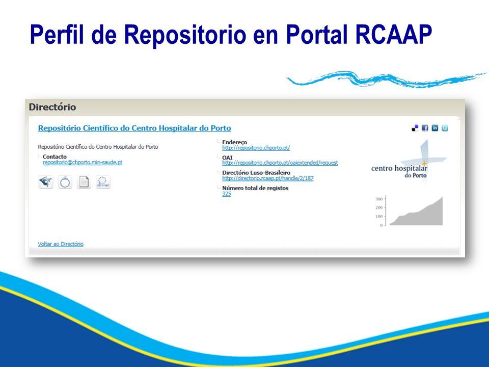Perfil de Repositorio en Portal RCAAP