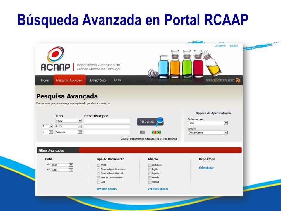Búsqueda Avanzada en Portal RCAAP