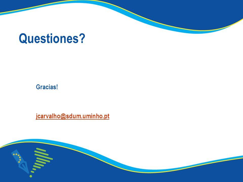Questiones Gracias! jcarvalho@sdum.uminho.pt