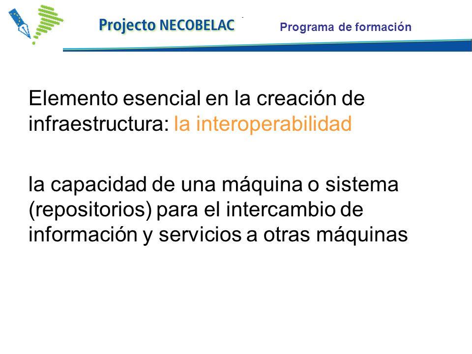 Programa de formación Elemento esencial en la creación de infraestructura: la interoperabilidad la capacidad de una máquina o sistema (repositorios) para el intercambio de información y servicios a otras máquinas