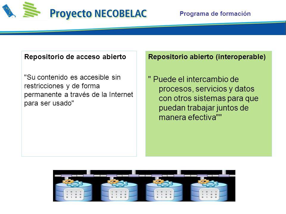Programa de formación Repositorio de acceso abierto Su contenido es accesible sin restricciones y de forma permanente a través de la Internet para ser usado Repositorio abierto (interoperable) Puede el intercambio de procesos, servicios y datos con otros sistemas para que puedan trabajar juntos de manera efectiva
