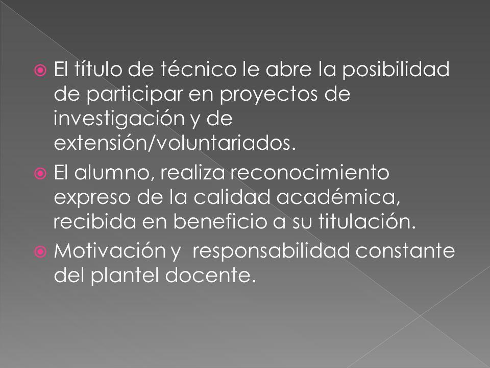 El título de técnico le abre la posibilidad de participar en proyectos de investigación y de extensión/voluntariados.
