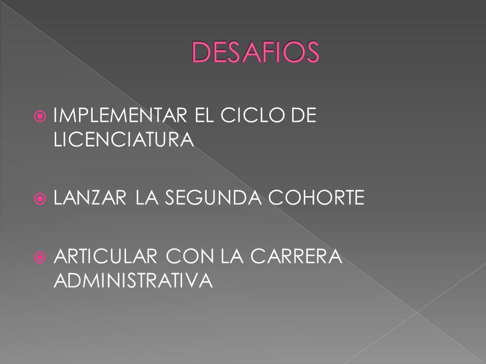 IMPLEMENTAR EL CICLO DE LICENCIATURA LANZAR LA SEGUNDA COHORTE ARTICULAR CON LA CARRERA ADMINISTRATIVA