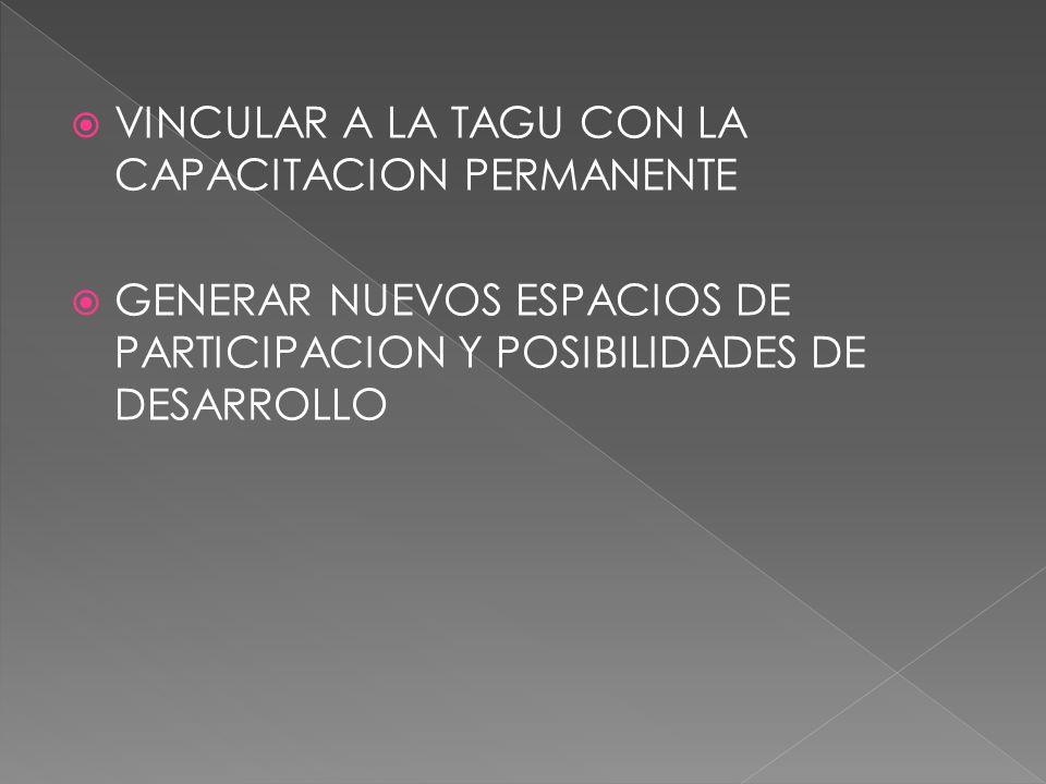VINCULAR A LA TAGU CON LA CAPACITACION PERMANENTE GENERAR NUEVOS ESPACIOS DE PARTICIPACION Y POSIBILIDADES DE DESARROLLO