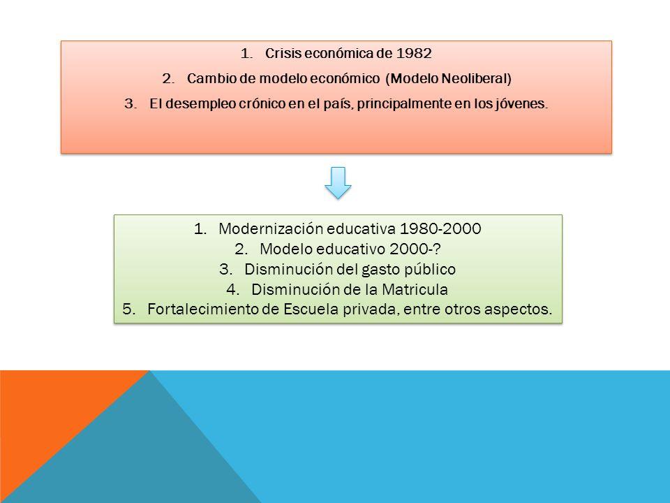 1.Crisis económica de 1982 2.Cambio de modelo económico (Modelo Neoliberal) 3.El desempleo crónico en el país, principalmente en los jóvenes. 1.Crisis
