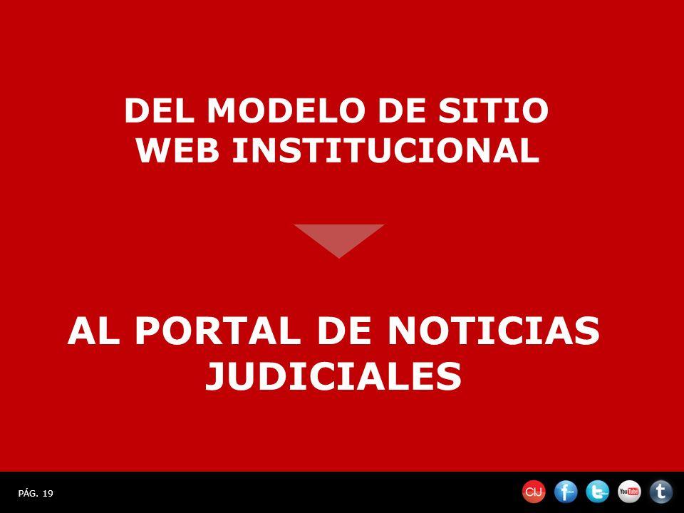 PÁG. 19 DEL MODELO DE SITIO WEB INSTITUCIONAL AL PORTAL DE NOTICIAS JUDICIALES