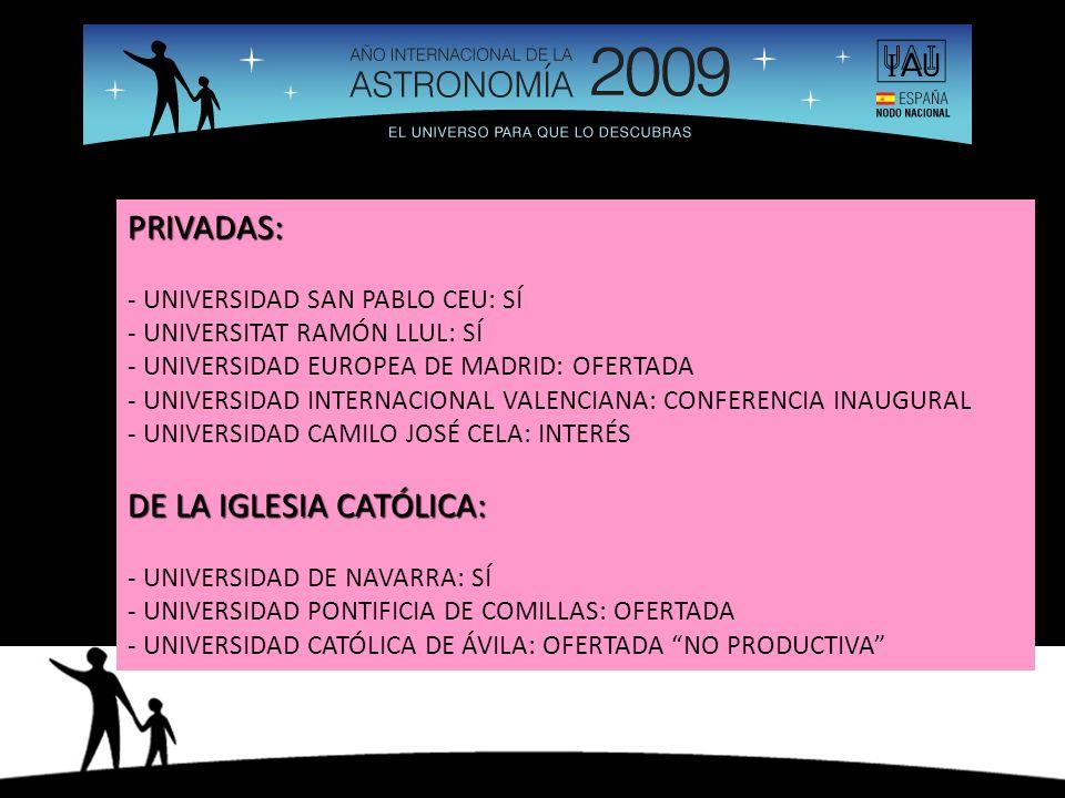 PRIVADAS: - UNIVERSIDAD SAN PABLO CEU: SÍ - UNIVERSITAT RAMÓN LLUL: SÍ - UNIVERSIDAD EUROPEA DE MADRID: OFERTADA - UNIVERSIDAD INTERNACIONAL VALENCIANA: CONFERENCIA INAUGURAL - UNIVERSIDAD CAMILO JOSÉ CELA: INTERÉS DE LA IGLESIA CATÓLICA: - UNIVERSIDAD DE NAVARRA: SÍ - UNIVERSIDAD PONTIFICIA DE COMILLAS: OFERTADA - UNIVERSIDAD CATÓLICA DE ÁVILA: OFERTADA NO PRODUCTIVA