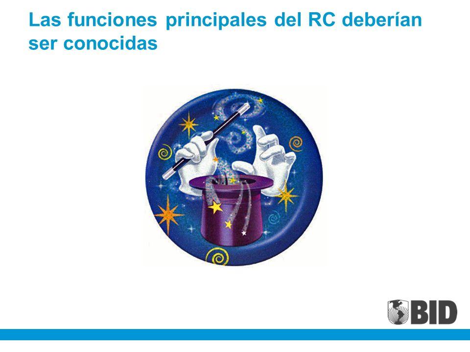 Las funciones principales del RC deberían ser conocidas