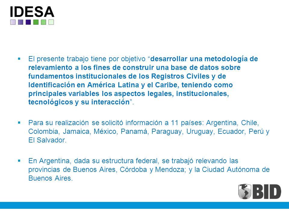 El presente trabajo tiene por objetivo desarrollar una metodología de relevamiento a los fines de construir una base de datos sobre fundamentos institucionales de los Registros Civiles y de Identificación en América Latina y el Caribe, teniendo como principales variables los aspectos legales, institucionales, tecnológicos y su interacción.