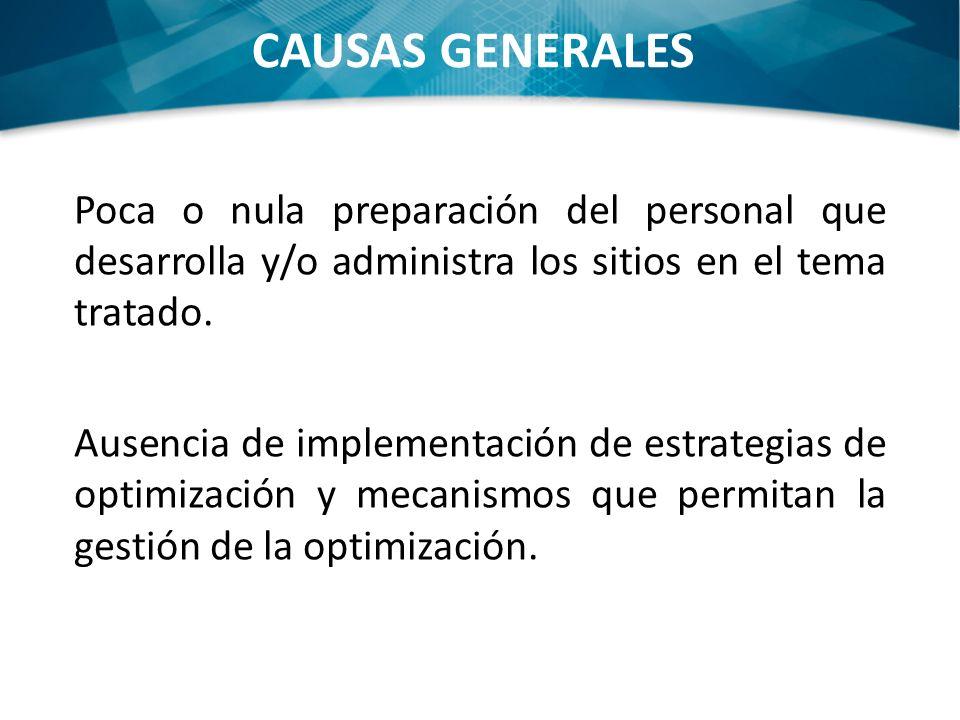 CAUSAS GENERALES Poca o nula preparación del personal que desarrolla y/o administra los sitios en el tema tratado. Ausencia de implementación de estra