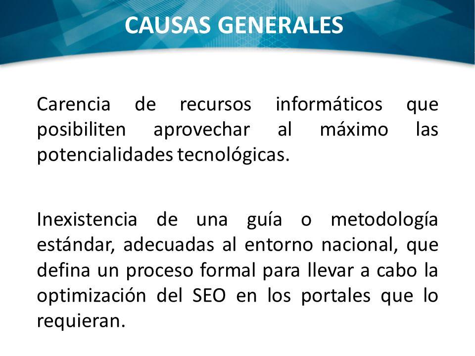 CAUSAS GENERALES Carencia de recursos informáticos que posibiliten aprovechar al máximo las potencialidades tecnológicas.