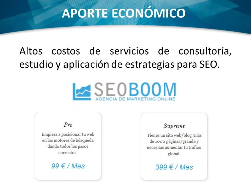 APORTE ECONÓMICO Altos costos de servicios de consultoría, estudio y aplicación de estrategias para SEO.