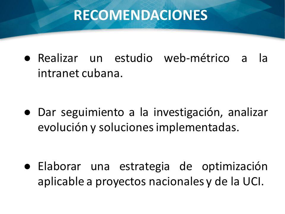 RECOMENDACIONES Realizar un estudio web-métrico a la intranet cubana. Dar seguimiento a la investigación, analizar evolución y soluciones implementada