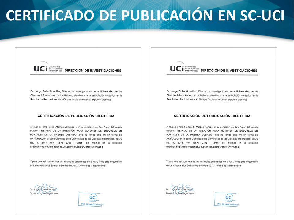 CERTIFICADO DE PUBLICACIÓN EN SC-UCI