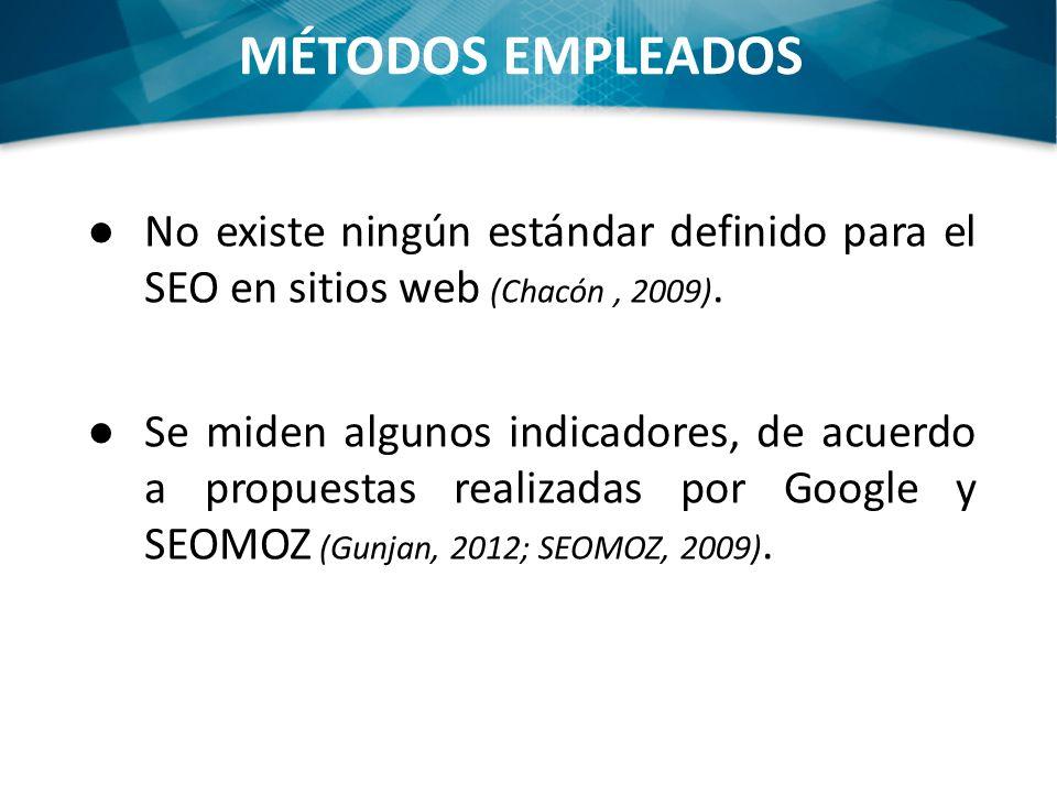No existe ningún estándar definido para el SEO en sitios web (Chacón, 2009). Se miden algunos indicadores, de acuerdo a propuestas realizadas por Goog