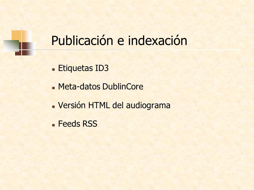 Publicación e indexación Etiquetas ID3 Meta-datos DublinCore Versión HTML del audiograma Feeds RSS