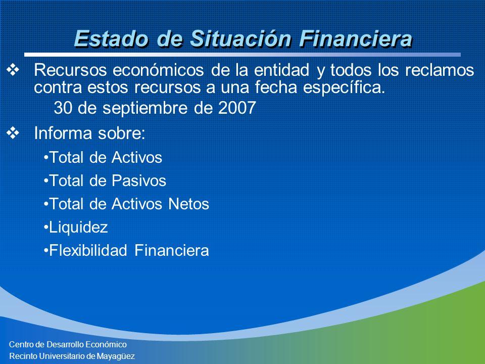 Centro de Desarrollo Económico Recinto Universitario de Mayagüez Estado de Situación Financiera Recursos económicos de la entidad y todos los reclamos contra estos recursos a una fecha específica.