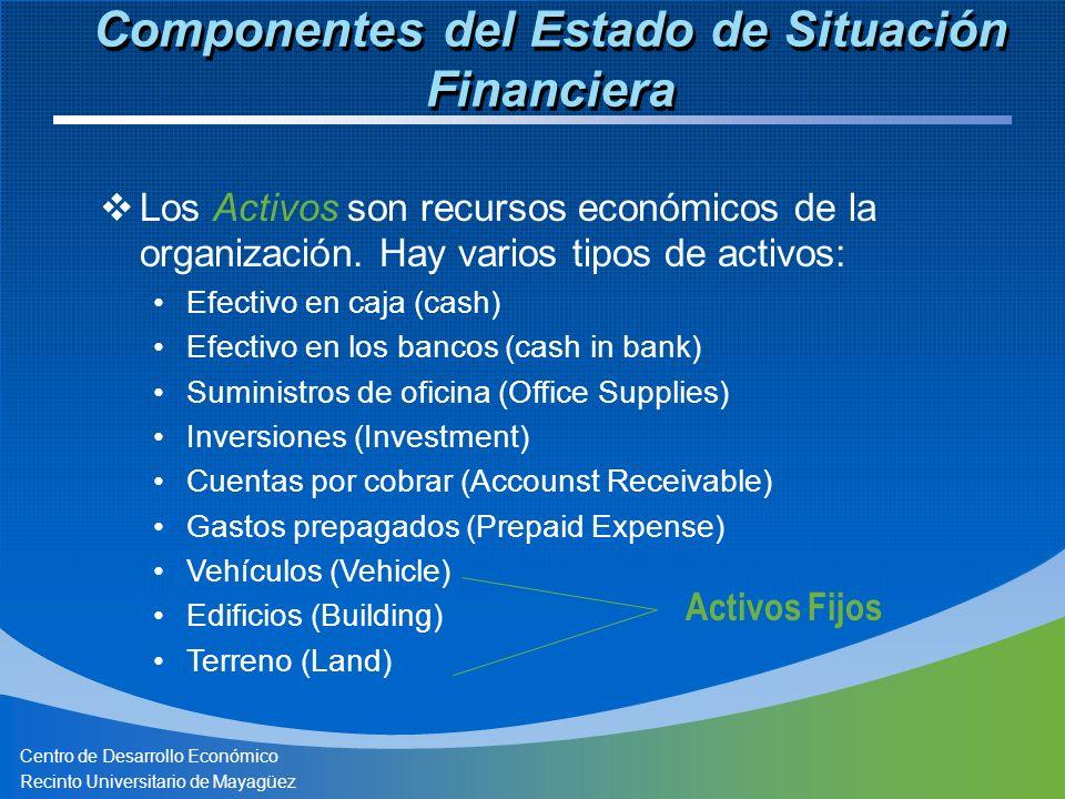 Centro de Desarrollo Económico Recinto Universitario de Mayagüez Los Activos son recursos económicos de la organización. Hay varios tipos de activos: