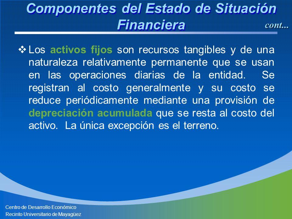 Centro de Desarrollo Económico Recinto Universitario de Mayagüez Los activos fijos son recursos tangibles y de una naturaleza relativamente permanente que se usan en las operaciones diarias de la entidad.