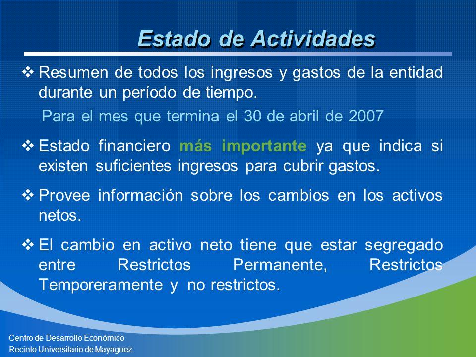 Centro de Desarrollo Económico Recinto Universitario de Mayagüez Estado de Actividades Resumen de todos los ingresos y gastos de la entidad durante un