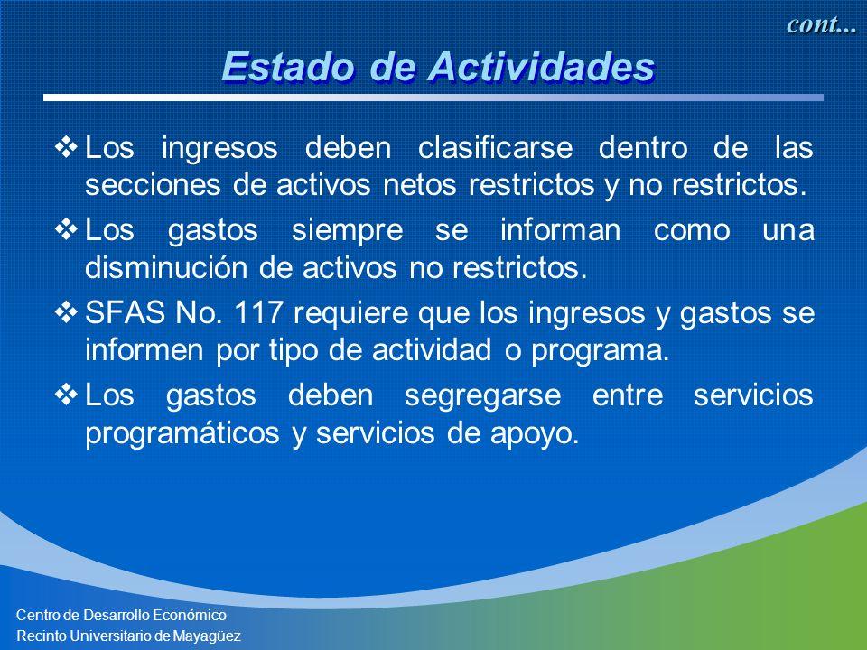 Centro de Desarrollo Económico Recinto Universitario de Mayagüez Los ingresos deben clasificarse dentro de las secciones de activos netos restrictos y no restrictos.
