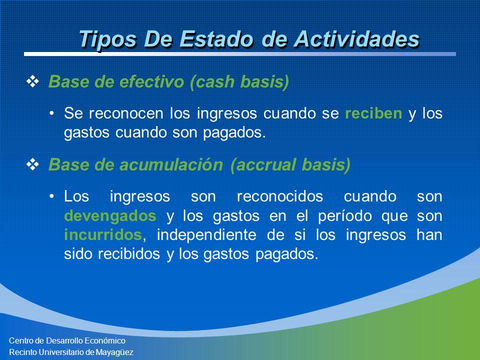 Centro de Desarrollo Económico Recinto Universitario de Mayagüez Tipos De Estado de Actividades Base de efectivo (cash basis) Se reconocen los ingresos cuando se reciben y los gastos cuando son pagados.