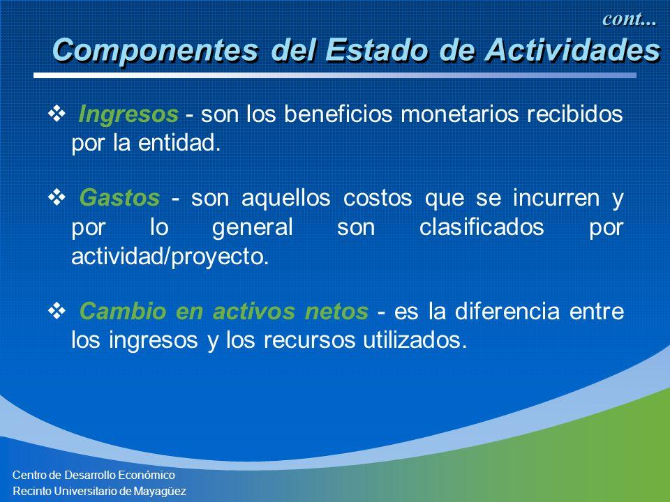 Centro de Desarrollo Económico Recinto Universitario de Mayagüez Componentes del Estado de Actividades Ingresos - son los beneficios monetarios recibidos por la entidad.