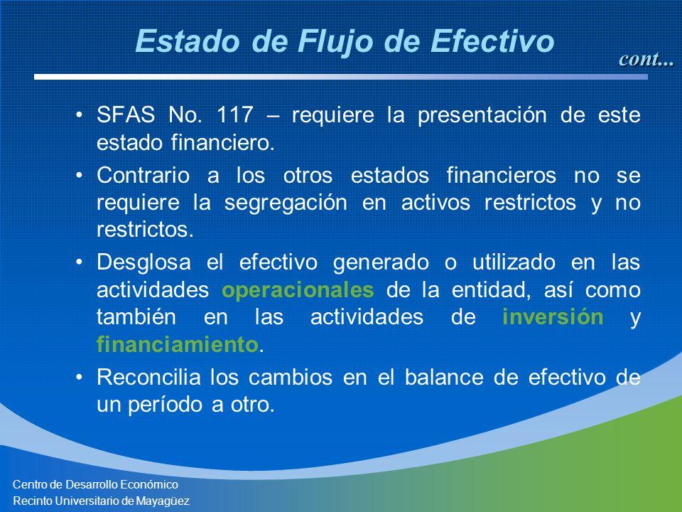 Centro de Desarrollo Económico Recinto Universitario de Mayagüez SFAS No. 117 – requiere la presentación de este estado financiero. Contrario a los ot