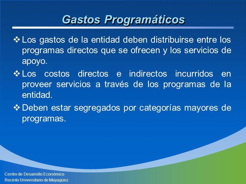 Centro de Desarrollo Económico Recinto Universitario de Mayagüez Gastos Programáticos Los gastos de la entidad deben distribuirse entre los programas directos que se ofrecen y los servicios de apoyo.