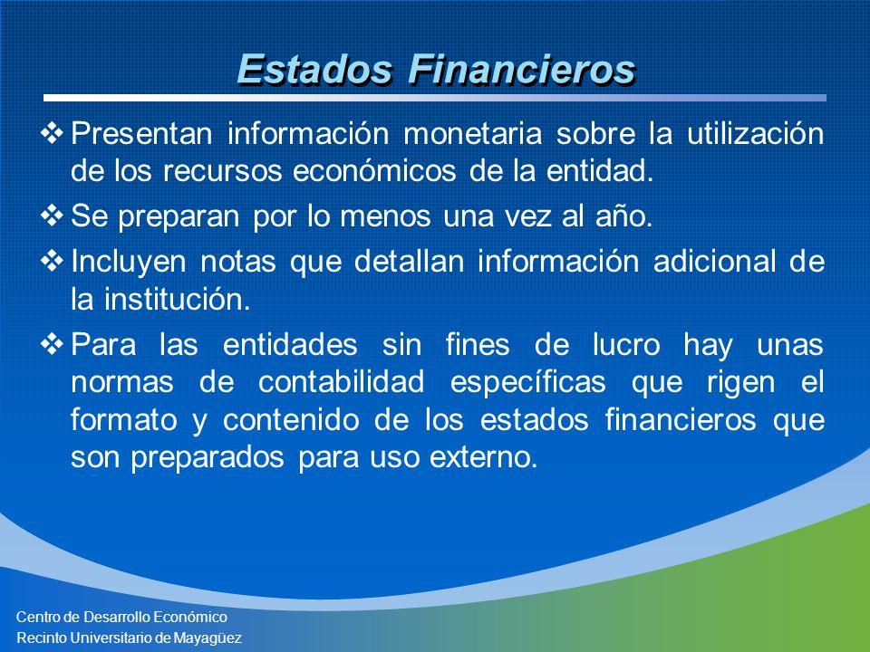 Centro de Desarrollo Económico Recinto Universitario de Mayagüez Limitaciones de los Estados Financieros Sólo presenta la parte cuantitativa No recoge información cualitativa de la entidad Existen partidas que son importantes para la entidad pero que sus medidas no son confiables por lo que no se pueden incluir.