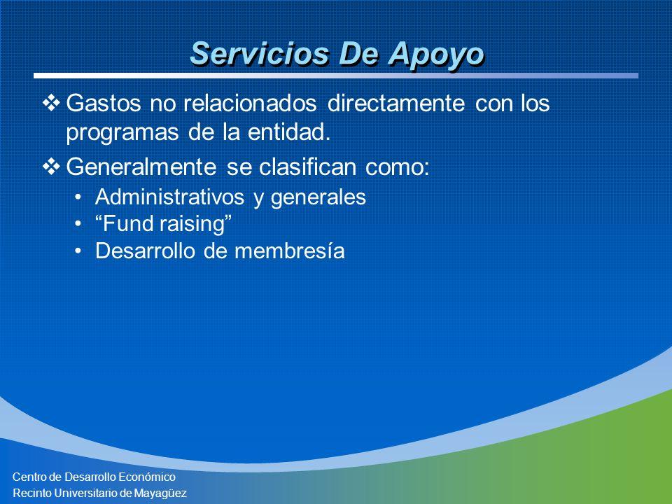 Centro de Desarrollo Económico Recinto Universitario de Mayagüez Servicios De Apoyo Gastos no relacionados directamente con los programas de la entidad.