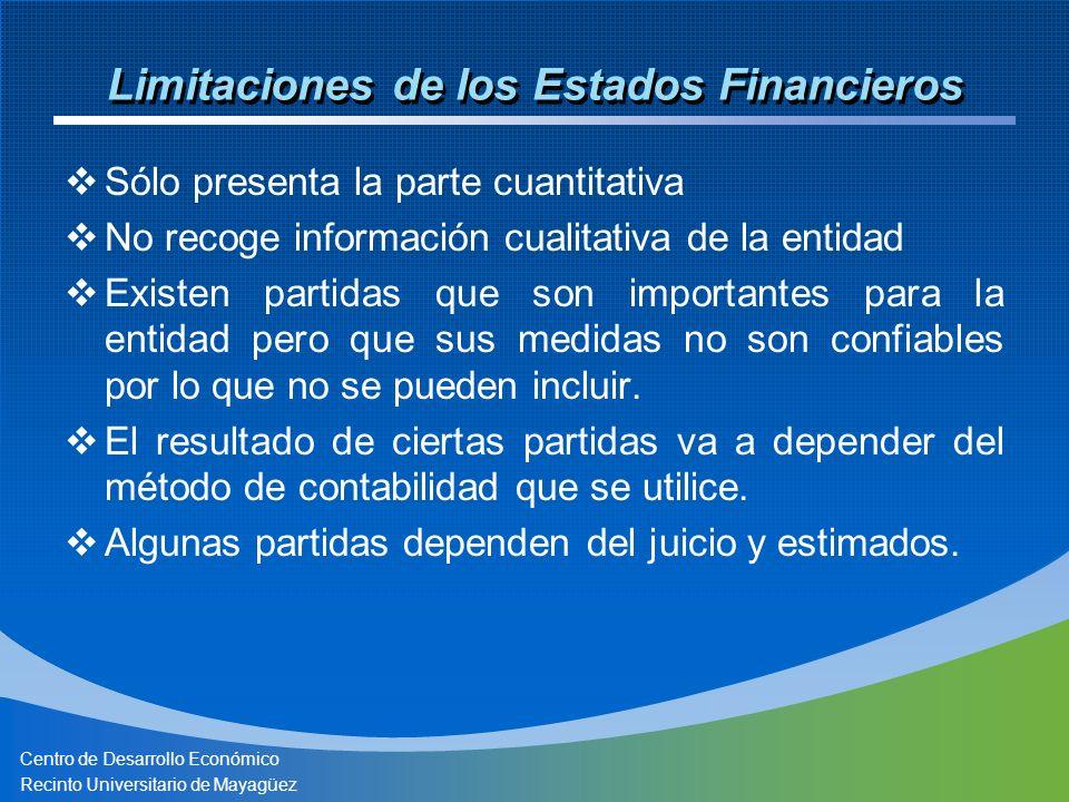 Centro de Desarrollo Económico Recinto Universitario de Mayagüez Limitaciones de los Estados Financieros Sólo presenta la parte cuantitativa No recoge