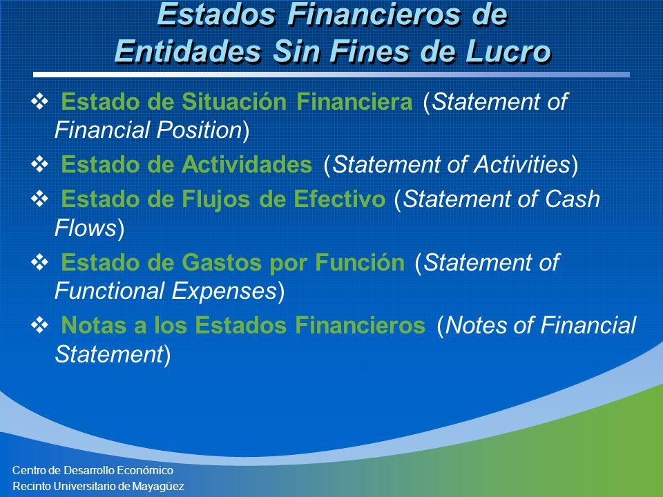 Centro de Desarrollo Económico Recinto Universitario de Mayagüez Estados Financieros de Entidades Sin Fines de Lucro Estado de Situación Financiera (Statement of Financial Position) Estado de Actividades (Statement of Activities) Estado de Flujos de Efectivo (Statement of Cash Flows) Estado de Gastos por Función (Statement of Functional Expenses) Notas a los Estados Financieros (Notes of Financial Statement)