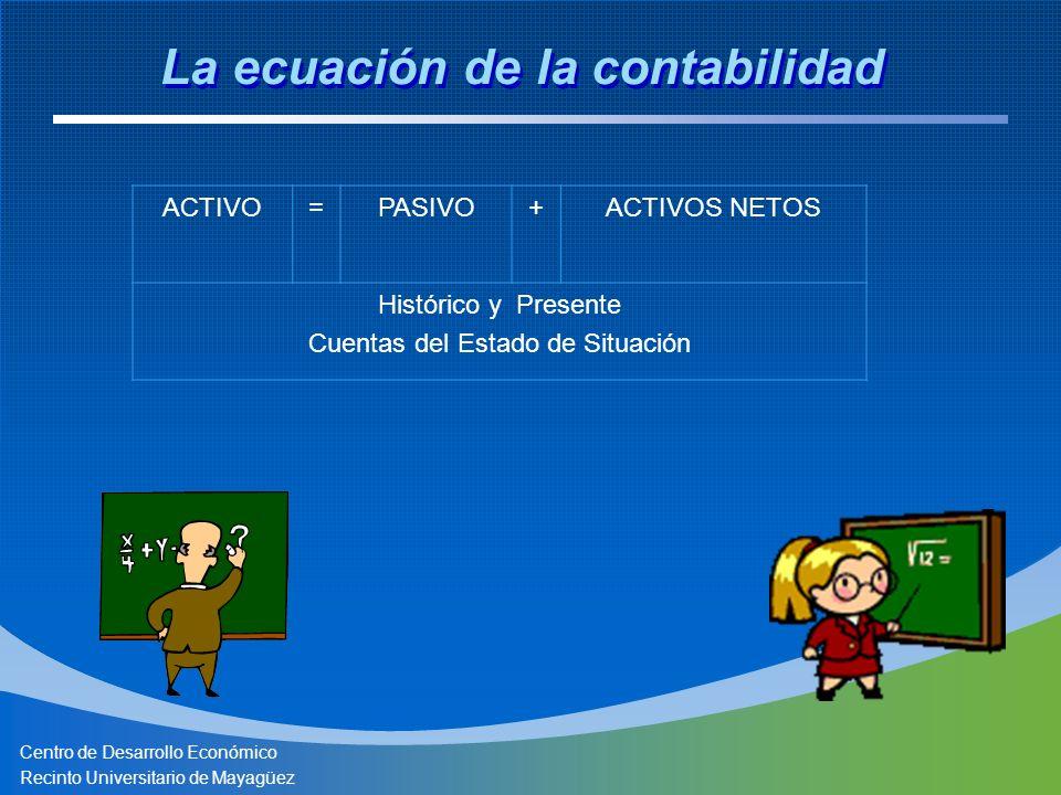 Centro de Desarrollo Económico Recinto Universitario de Mayagüez La ecuación de la contabilidad ACTIVO=PASIVO+ACTIVOS NETOS Histórico y Presente Cuent