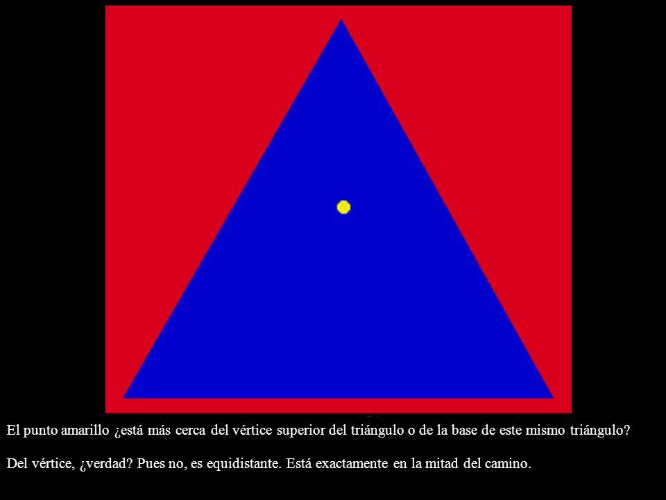 El punto amarillo ¿está más cerca del vértice superior del triángulo o de la base de este mismo triángulo? Del vértice, ¿verdad? Pues no, es equidista