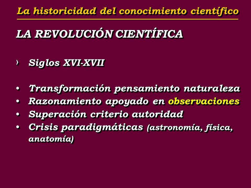 LA REVOLUCIÓN CIENTÍFICA Siglos XVI-XVII Siglos XVI-XVII Transformación pensamiento naturaleza Transformación pensamiento naturaleza Razonamiento apoy