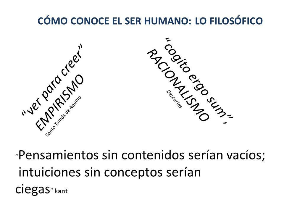 CÓMO CONOCE EL SER HUMANO: LO FILOSÓFICO ver para creer EMPIRISMO Santo Tomás de Aquino cogito ergo sum, RACIONALISMO Descartes Pensamientos sin conte