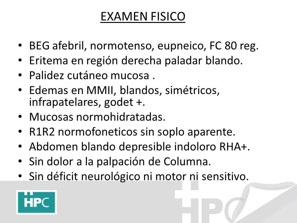 EXAMEN FISICO BEG afebril, normotenso, eupneico, FC 80 reg. Eritema en región derecha paladar blando. Palidez cutáneo mucosa. Edemas en MMII, blandos,