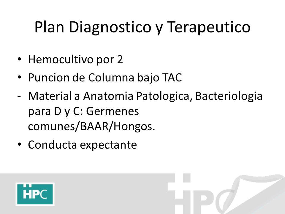 Plan Diagnostico y Terapeutico Hemocultivo por 2 Puncion de Columna bajo TAC -Material a Anatomia Patologica, Bacteriologia para D y C: Germenes comun