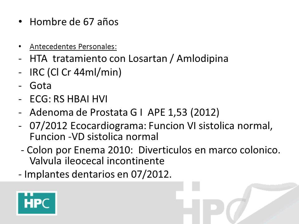 Hombre de 67 años Antecedentes Personales: -HTA tratamiento con Losartan / Amlodipina -IRC (Cl Cr 44ml/min) -Gota -ECG: RS HBAI HVI -Adenoma de Prosta