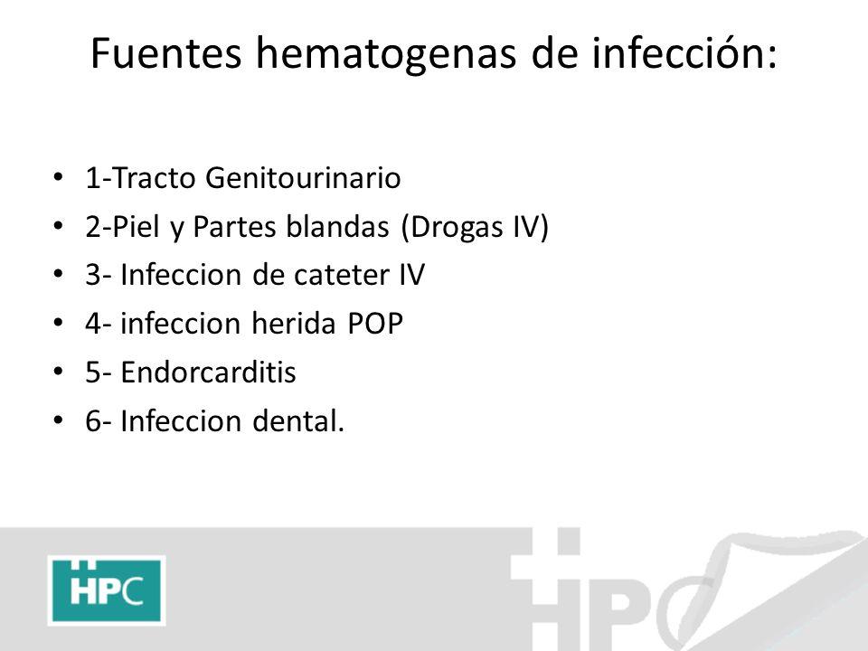 Fuentes hematogenas de infección: 1-Tracto Genitourinario 2-Piel y Partes blandas (Drogas IV) 3- Infeccion de cateter IV 4- infeccion herida POP 5- En