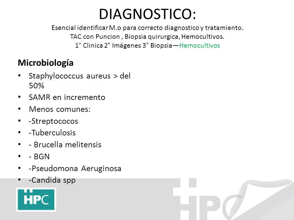 DIAGNOSTICO: Esencial identificar M.o para correcto diagnostico y tratamiento. TAC con Puncion, Biopsia quirurgica, Hemocultivos. 1° Clinica 2° Imágen