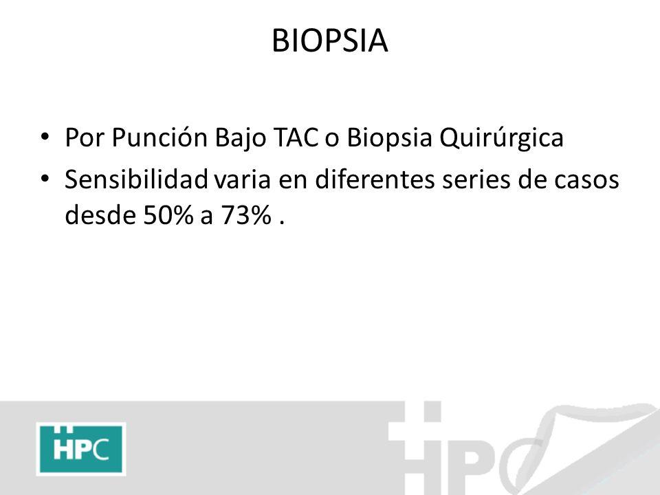 BIOPSIA Por Punción Bajo TAC o Biopsia Quirúrgica Sensibilidad varia en diferentes series de casos desde 50% a 73%.