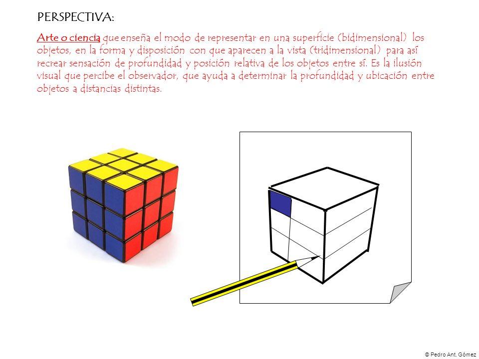 © Pedro Ant. Gómez PERSPECTIVA: Arte o ciencia que enseña el modo de representar en una superficie (bidimensional) los objetos, en la forma y disposic