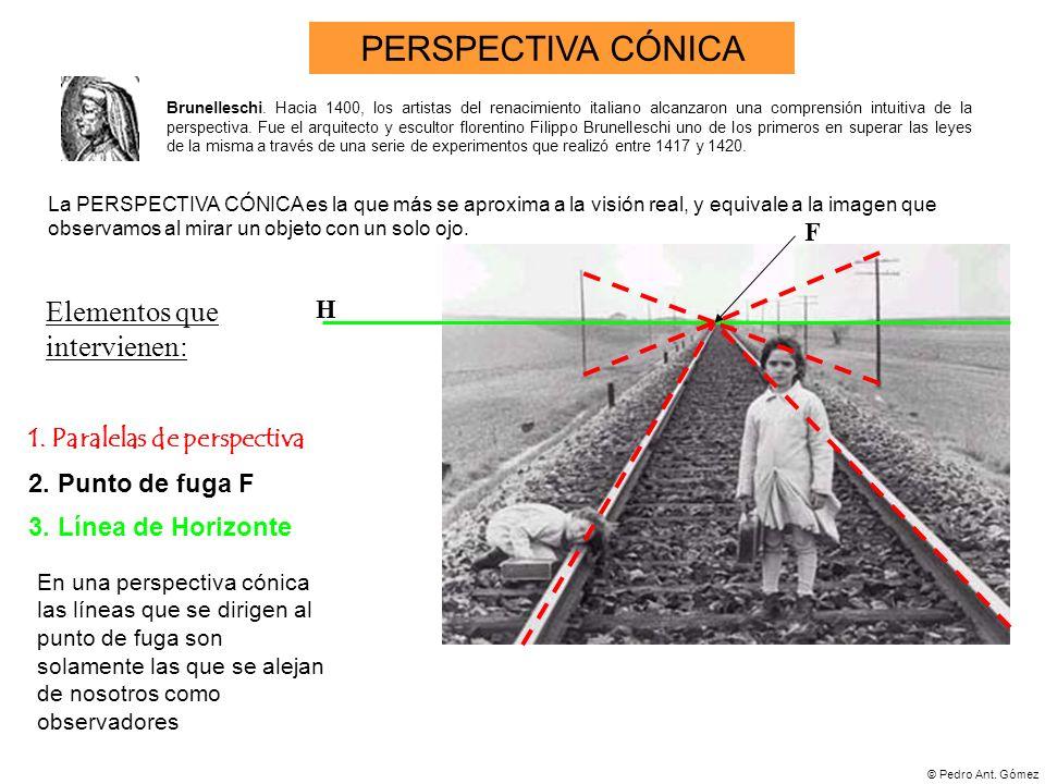© Pedro Ant. Gómez 1. Paralelas de perspectiva 3. Línea de Horizonte En una perspectiva cónica las líneas que se dirigen al punto de fuga son solament