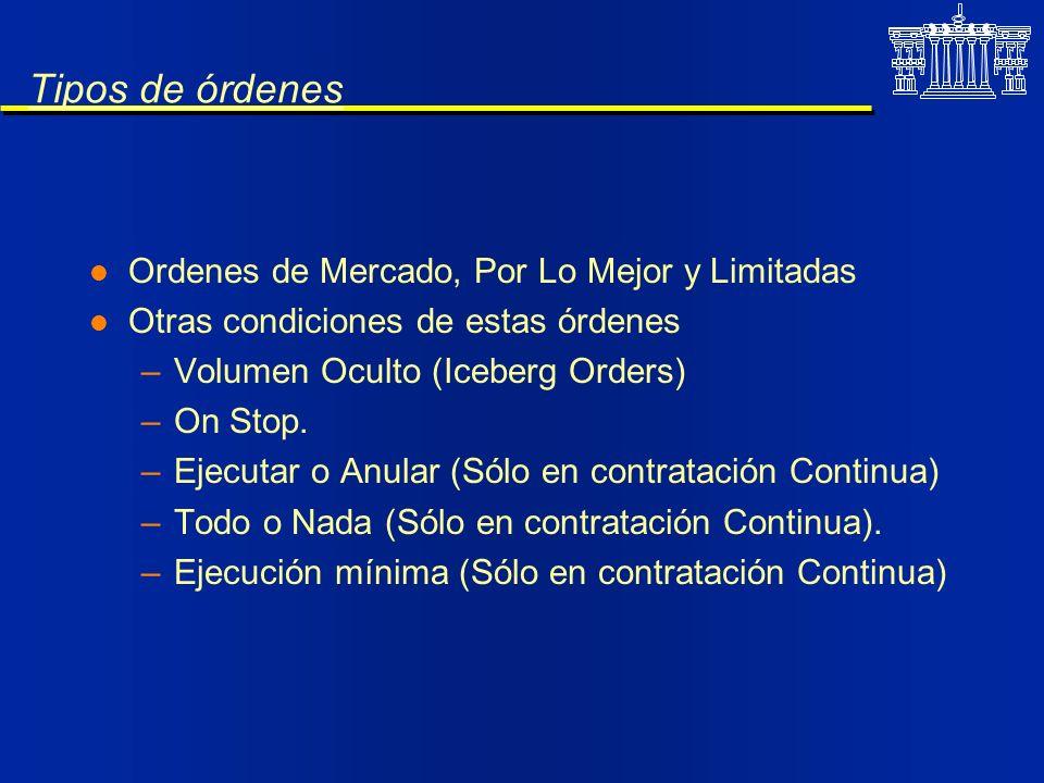 Tipos de órdenes l Ordenes de Mercado, Por Lo Mejor y Limitadas l Otras condiciones de estas órdenes –Volumen Oculto (Iceberg Orders) –On Stop. –Ejecu